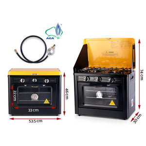 3 Burner Portable Oven - Black & Yellow