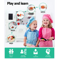 Kids Kitchen Set Pretend Play Food Sets Childrens Utensils Wooden White