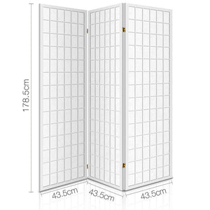 3 Panel Wooden Room Divider - White
