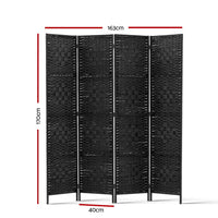 4 Panel Room Divider Privacy Screen Rattan Woven Wood Stand Black