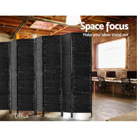 Room Divider 8 Panel Dividers Privacy Screen Rattan Wooden Stand Black