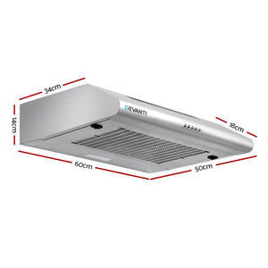 Fixed Range Hood Rangehood Stainless Steel Kitchen Canopy 60cm 600mm
