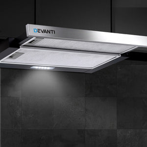 Rangehood Range Hood Stainless Steel Slide Out Kitchen Canopy 60cm 600mm Black
