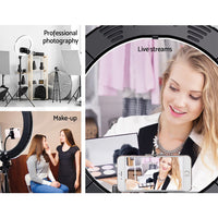 "19"" LED Ring Light 6500K 5800LM Dimmable Diva With Stand Make Up Studio Video"