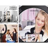 "14"" LED Ring Light 5600K 3000LM Dimmable Stand MakeUp Studio Video"