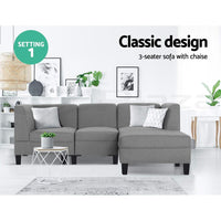 4 Seater Sofa Set Bed Modular Lounge Chair Chaise Suite Fabric