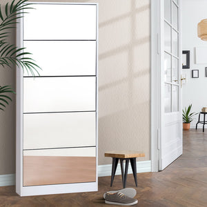 5 Drawer Mirrored Wooden Shoe Cabinet - White