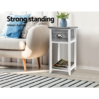 Bedside Table Nightstand Drawer Storage Cabinet Lamp Side Shelf Unit Grey