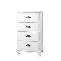 Vintage Bedside Table Chest 4 Drawers Storage Cabinet Nightstand White