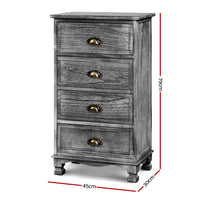 Bedside Tables Drawers Cabinet Vintage 4 Chest of Drawers Grey Nightstand