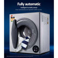 6kg Tumble Dryer Vented Full Automatic Wall Mountable Silver