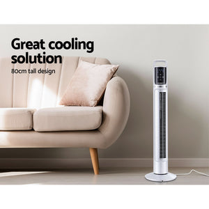 "80cm 32"" Tower Fan Bladeless Fans Oscillating W/Remote Timer White"