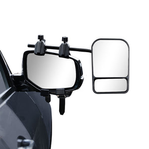 2x Towing Mirrors Pair Heavy Duty Multi Fit Clamp On Towing Caravan 4X4 Trailer