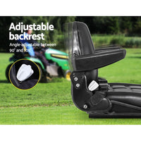 Tractor Seat with Armrest Forklift Excavator Bulldozer Universal Suspension Backrest Truck Chair black