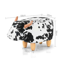 Kids Ottoman Foot Stool Toy Cow Chair Animal Foot Rest Fabric Seat White