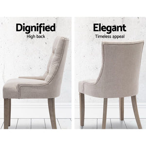 2x Dining Chair Beige  French Provincial Chairs Wooden Fabric Retro Cafe