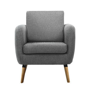 Lounge Chair Armchair with Ottoman Tub Accent Sofa Linen Fabric Grey