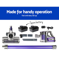 Handheld Vacuum Cleaner Cordless Stick Handstick Vac 2-Speed 150W with Spare Battery Purple