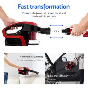 Cordless Stick Vacuum Cleaner - Black and Red