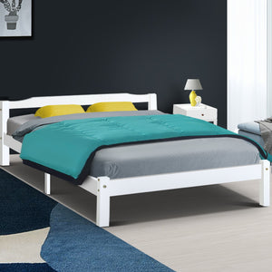 Queen Size Wooden Bed Frame Mattress Base Timber Platform White LEXI