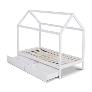 Wooden Bed Frame Single Size Mattress Base Timber Platform Storage Drawers Pine Wood White