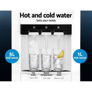 22L Bench Top Water Cooler Dispenser Filter Purifier Hot Cold Room Temperature Three Taps