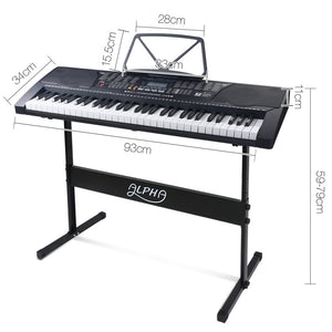 61 Key Lighted Electronic Piano Keyboard LCD Electric w/ Holder Music Stand