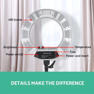 "19"" 5600K LED Ring Light With Stand Dimmable Diva For Phone Camera DSLR"