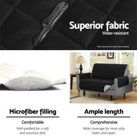 Sofa Cover Quilted Couch Covers Protector Slipcovers 1 Seater Black