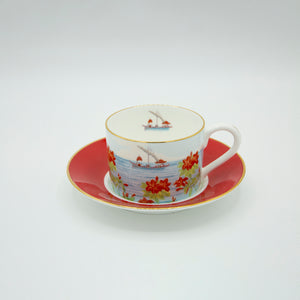 Indian Room Coral Cup and Saucer