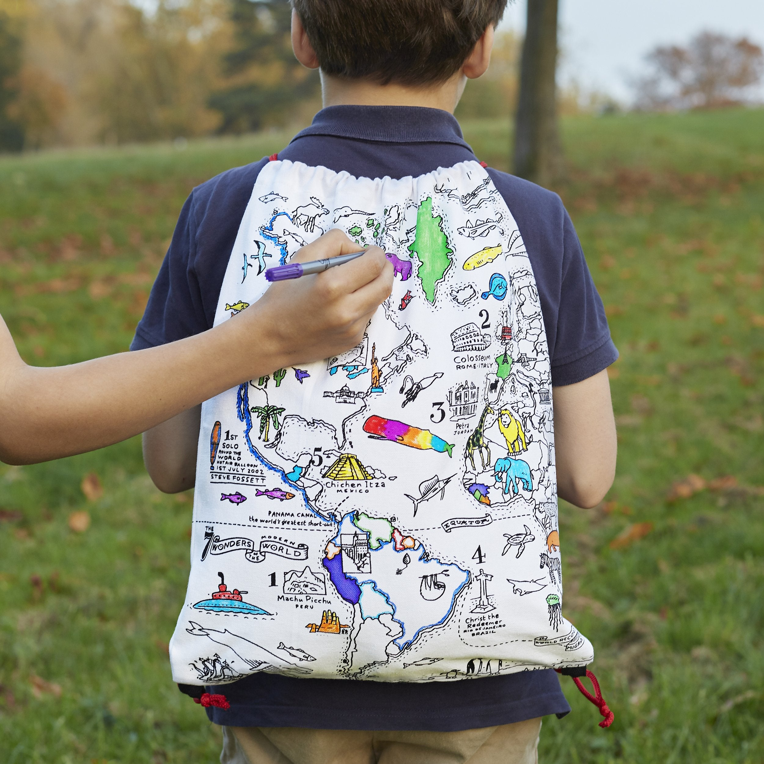 World Map Colour-in Backpack