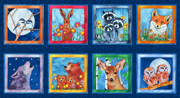 Woodland Fantasy - Blue Animal Block Panel