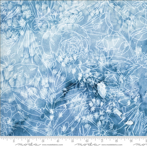 Moody Bloom - Indigo background with white etched blooms and leaves