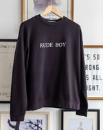 "Load image into Gallery viewer, The Academy New York. Black Boxy fit organic cotton crewneck sweatshirt featuring ""rude boy"" screen print."