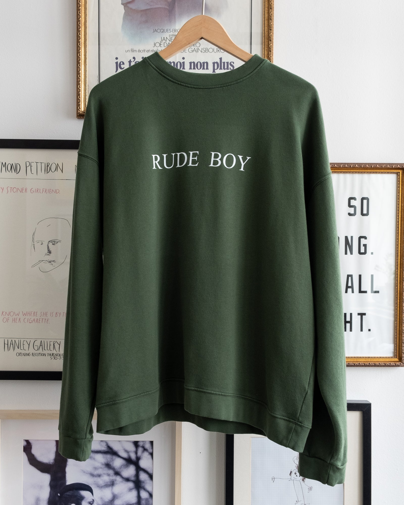 "The Academy New York. Green Boxy fit organic cotton crewneck sweatshirt featuring ""rude boy"" screen print"
