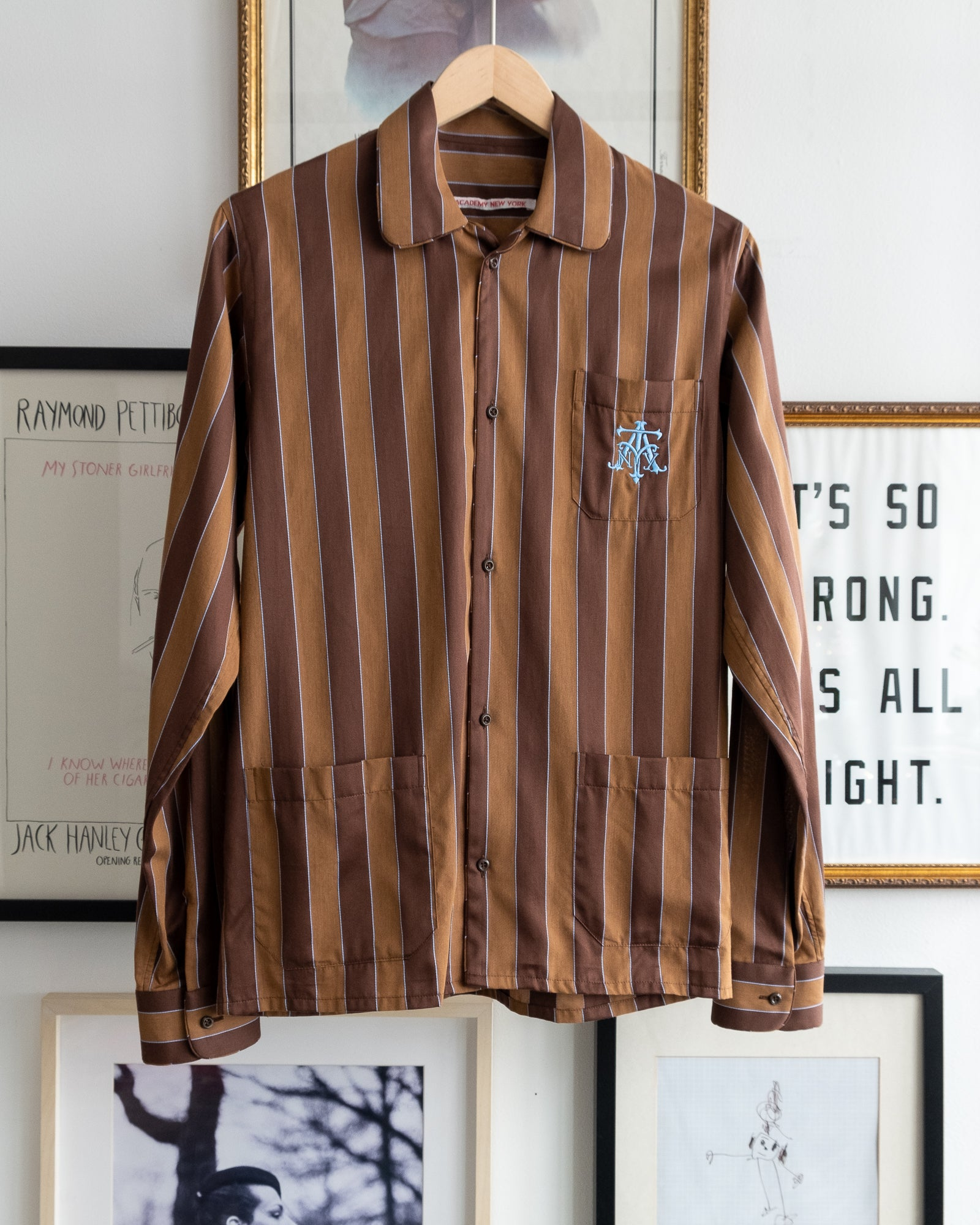 The Academy New York Crest PJ shirt in brown/blue with blue embroidery on breast pocket.