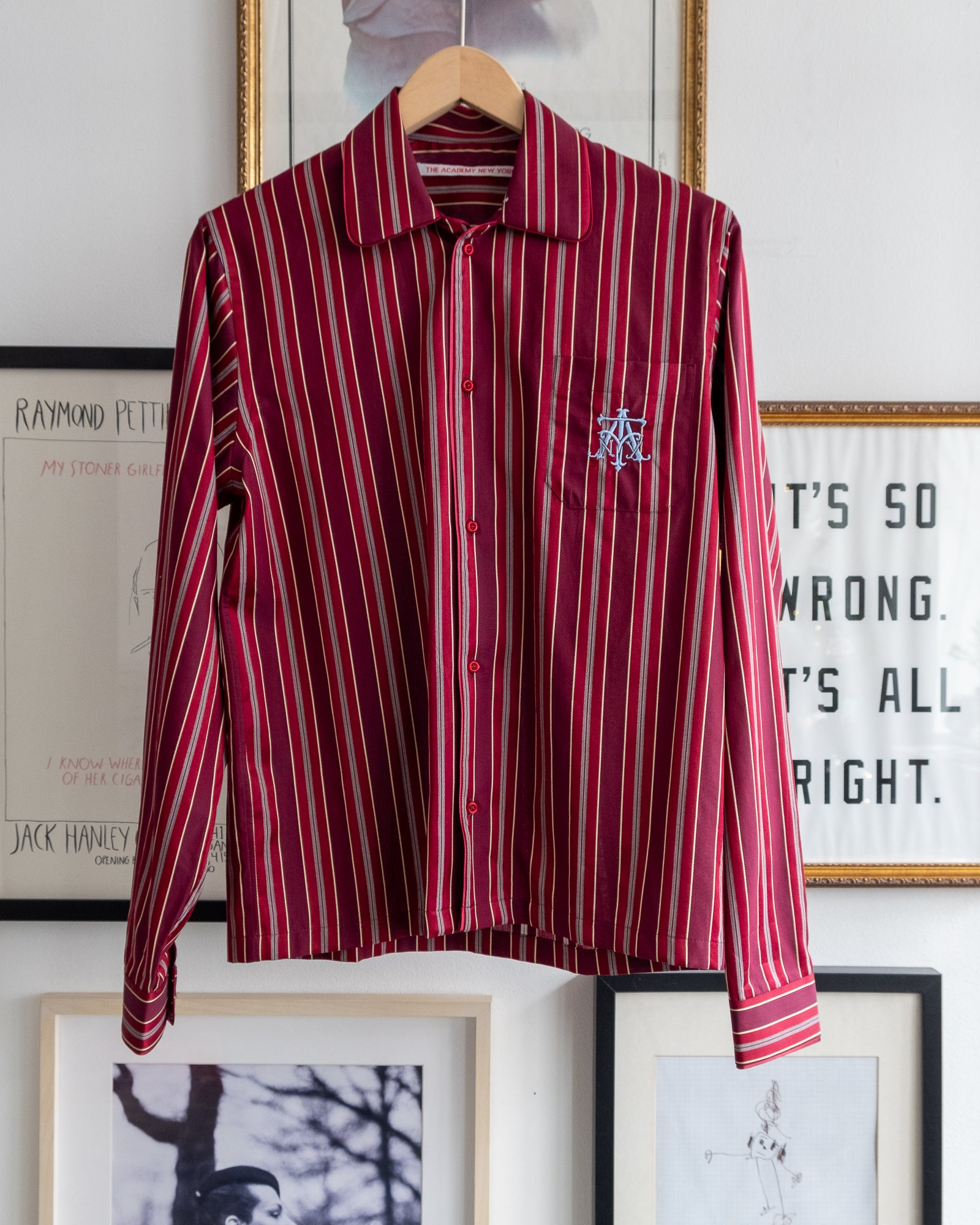 The Academy New York Crest PJ shirt in burgundy with blue embroidery on breast pocket.