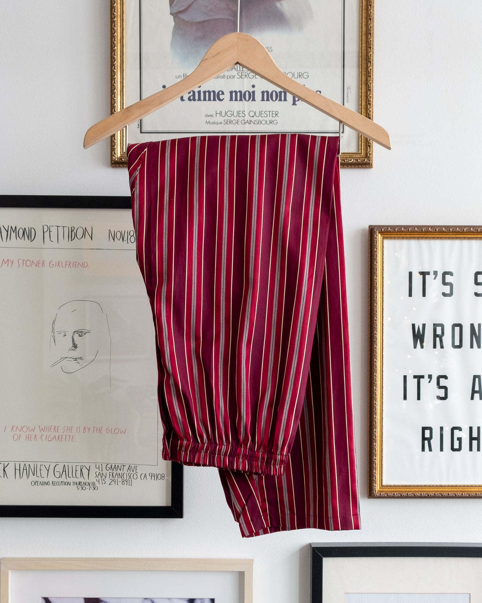 The Academy New York PJ Pant in burgundy stripe.