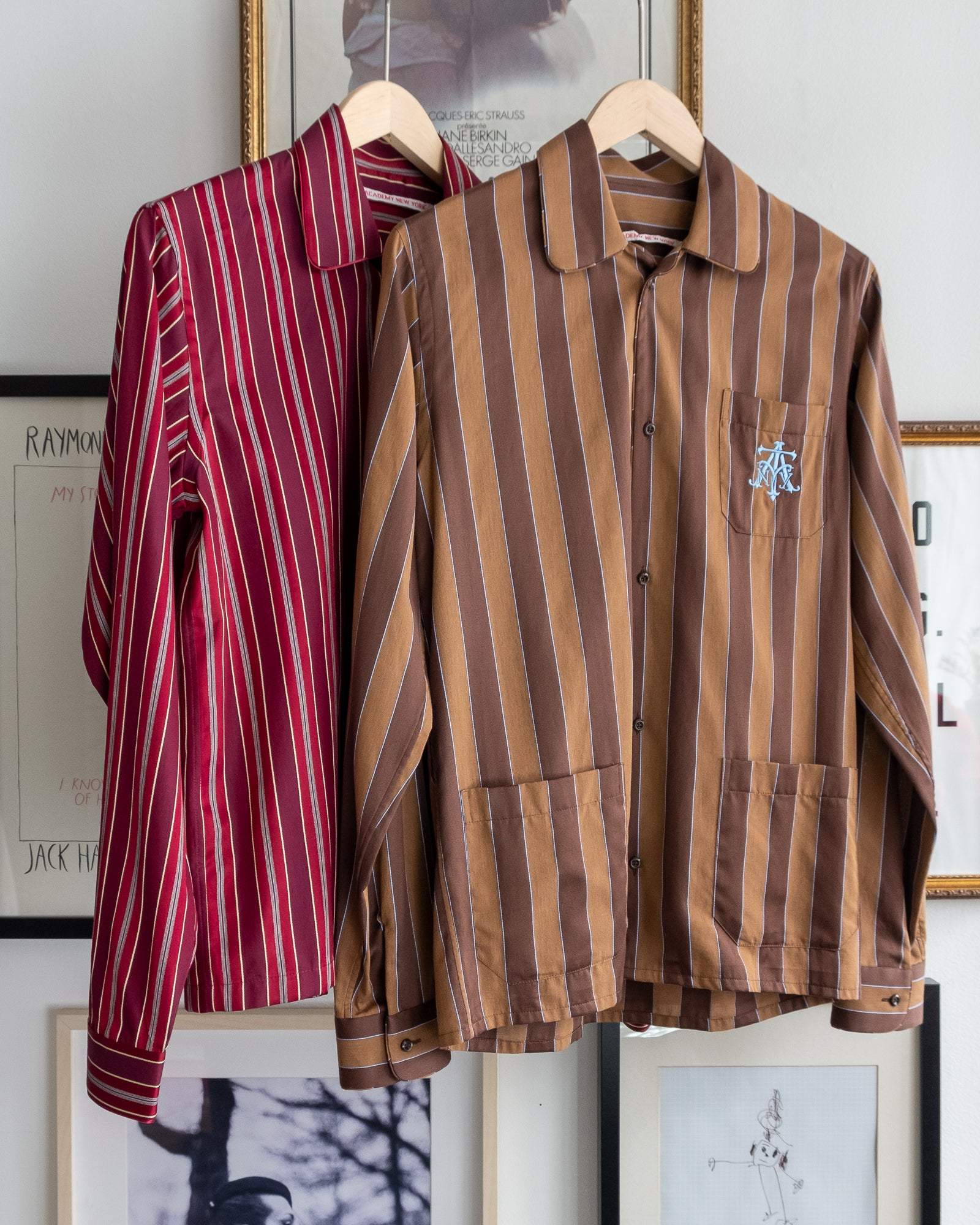 The Academy New York Crest PJ shirt in brown/blue and burgundy with blue embroidery on breast pocket.