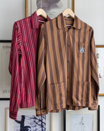 Load image into Gallery viewer, The Academy New York Crest PJ shirt in brown/blue and burgundy with blue embroidery on breast pocket.