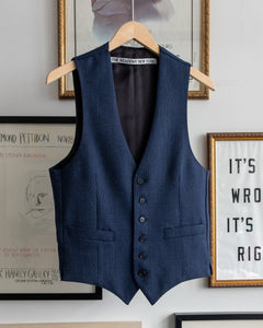 The Academy New York Afternoon Waistcoat in Navy Glen Plaid (front)