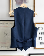 Load image into Gallery viewer, The Academy New York Afternoon Waistcoat in Navy Glen Plaid (back)