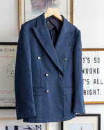 Load image into Gallery viewer, The Academy New York Double Breasted Dinner Jacket in Navy Glen Plaid (front).