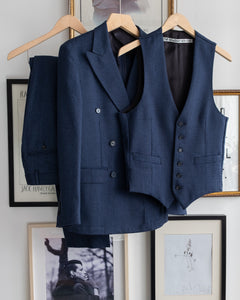 The Academy New York Double Breasted Dinner Jacket, Double pleat pant, and Afternoon waistcoat  in Navy Glen Plaid (front).