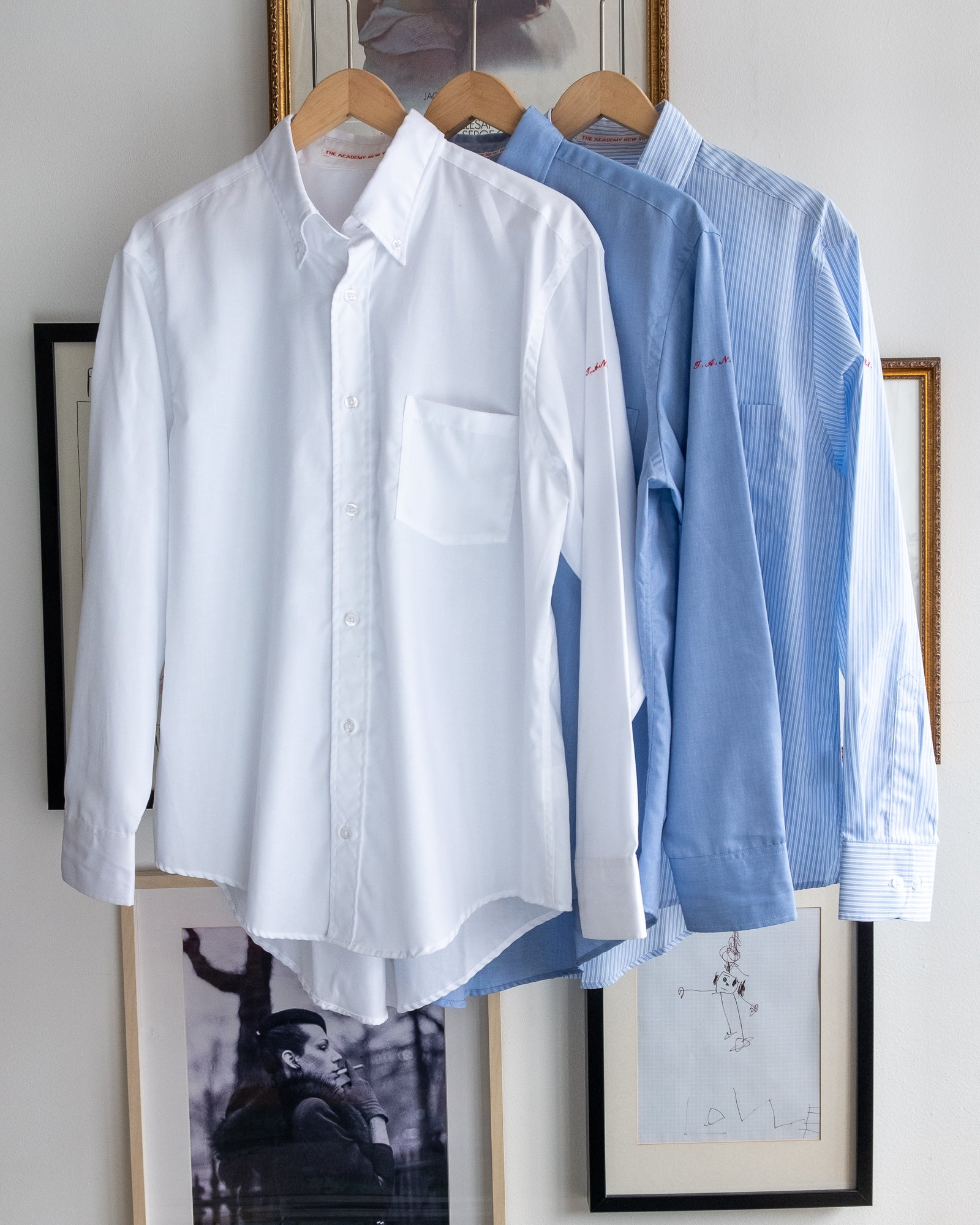 The Academy New York. Three color ways of the oversized button down shirt.