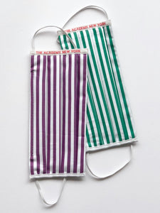 The Academy New York face masks in purple/white stripe and green/white stripe.