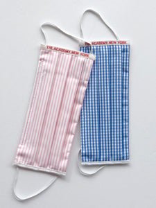 The Academy New York face masks in pink/white stripe and blue gingham.