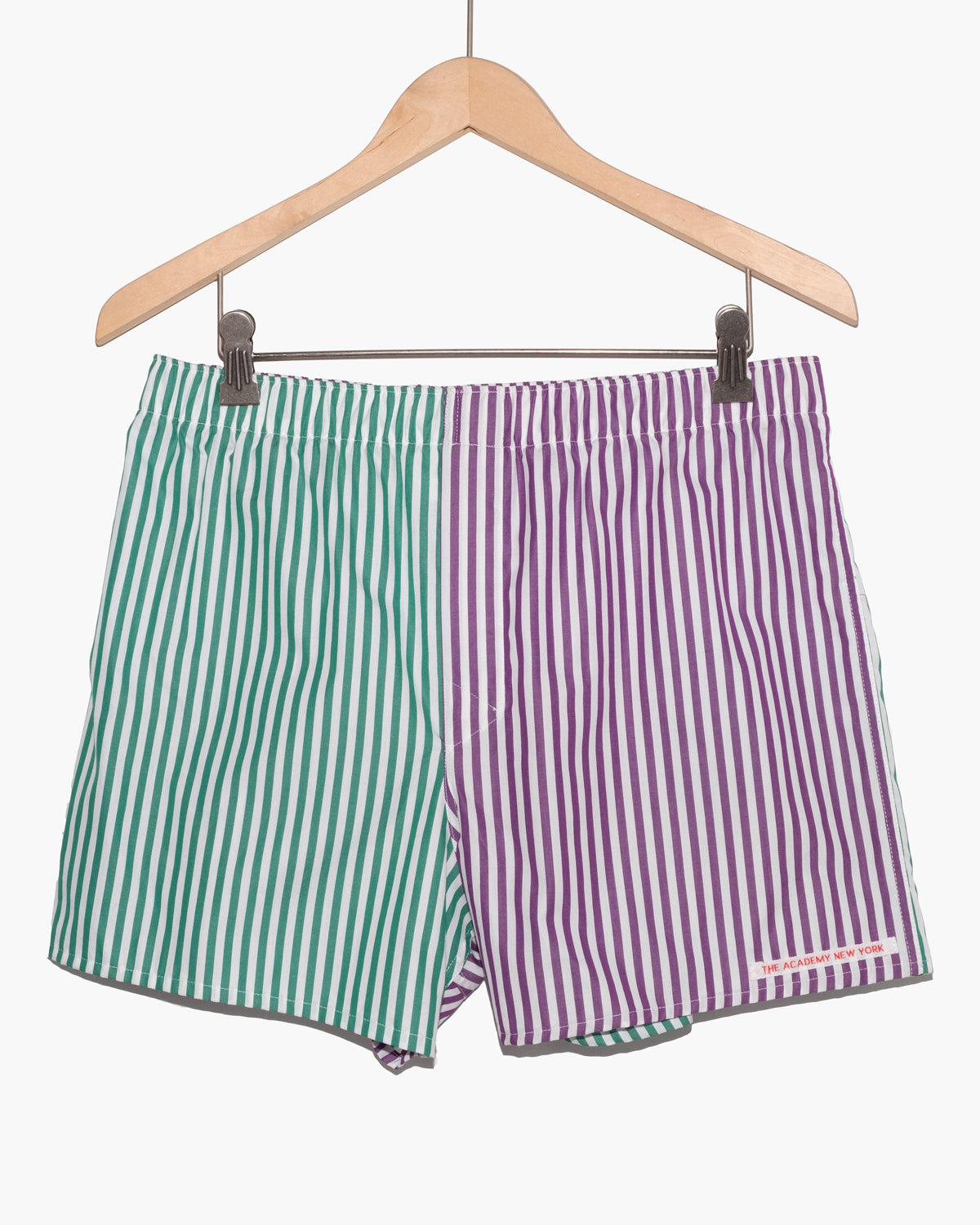 The Academy New York off court green and purple striped boxer shorts. (front)
