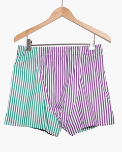 The Academy New York off court green and purple striped boxer shorts. (back)