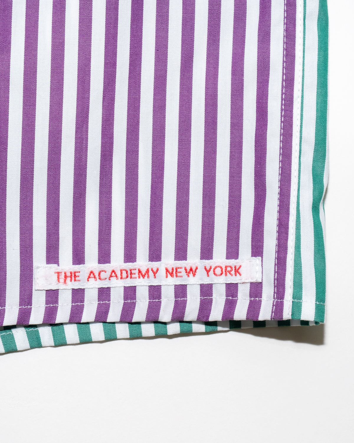 The Academy New York off court green and purple striped boxer shorts. (detail)